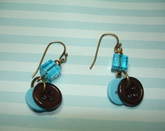 Dangle BUTTON Earrings - BROWN - Aqua Blue - or Turquoise - Antique Goldtone findings