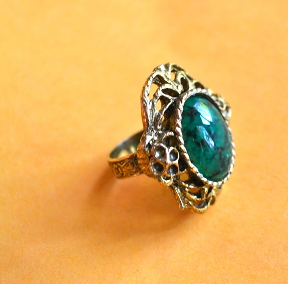 Victorian Ring, Large Green Stone, Adjustable Filigree, Antique Gold tone, Clearance Sale
