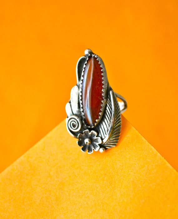 Vintage Navajo Ring Size 7 Stamped Sterling, Large Agate Stone, Vintage Native American