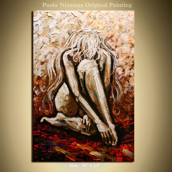 """Original Modern Gallery Quality Professional Oil Painting by Paula Nizamas, Size 36"""" tall and 24"""" wide"""