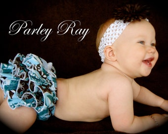 Beautiful Parley Ray Glamor and Glitz Blue Glitter Ruffled Baby Bloomers Pageant / Diaper Cover / Photo Props