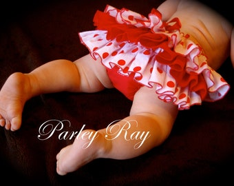 Beautiful Parley Ray Custom Boutique Red and White Polka Dot Ruffled Baby Bloomers/ Diaper Cover / Photo Props