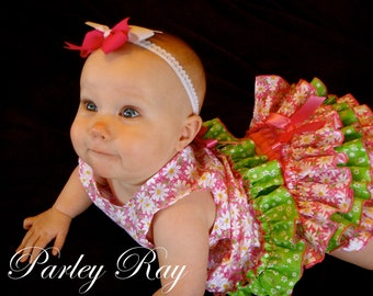 A Beautiful Parley Ray Easter/ Spring Pinafore Dress with Ruffled Baby Bloomers/ Diaper Cover / Photo Props