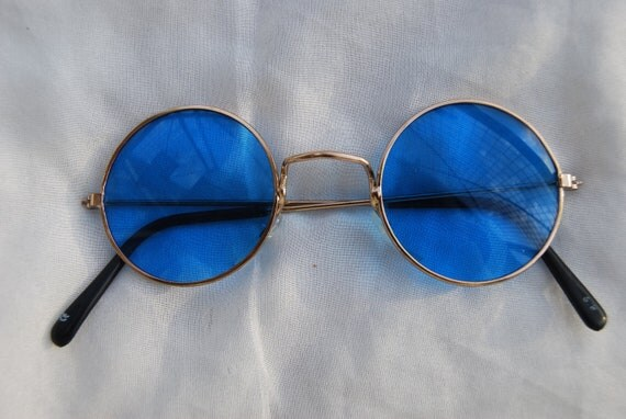 Vintage Deadstock Round Sunglasses - Gold Metal Frame Light Blue Lens - John Lennon - 90s Small Circle Glasses -Metal