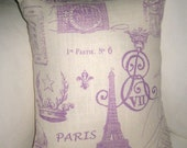 Paris Antique Script Toile Pillow, Vintage Writing, Eiffel Tower Cushion, French Country Home Decor, Lavender, Shabby Chic, France, Crown