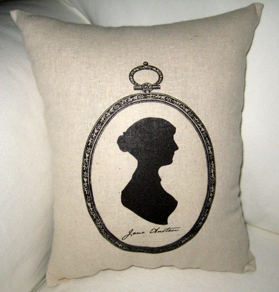 Antique Silhouette Jane Austen Pillow, Shabby Chic French Country Cushion, Neutral Home Decor Inspired by author, Cameo, Ivory, White, Words