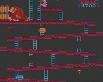 Donkey Kong cross stitch pattern