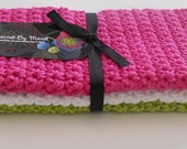 Handmade Cotton Crochet Dishcloths Washcloths Set of 3  Hot Pink White and Lime Green