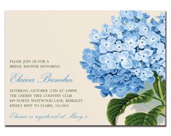 Vintage Hydrangea Bridal Shower Invitation Baby Shower Birthday Party Wedding Invitation FREE PRIORITY SHIPPING or DiY Printable - Elaina
