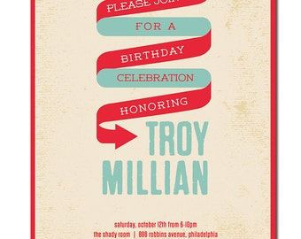 Birthday Party Invitation 21st 30th 40th 50th 60th Modern Typography Poster Invitation Blue Red DIY Digital or Printed - Troy Style