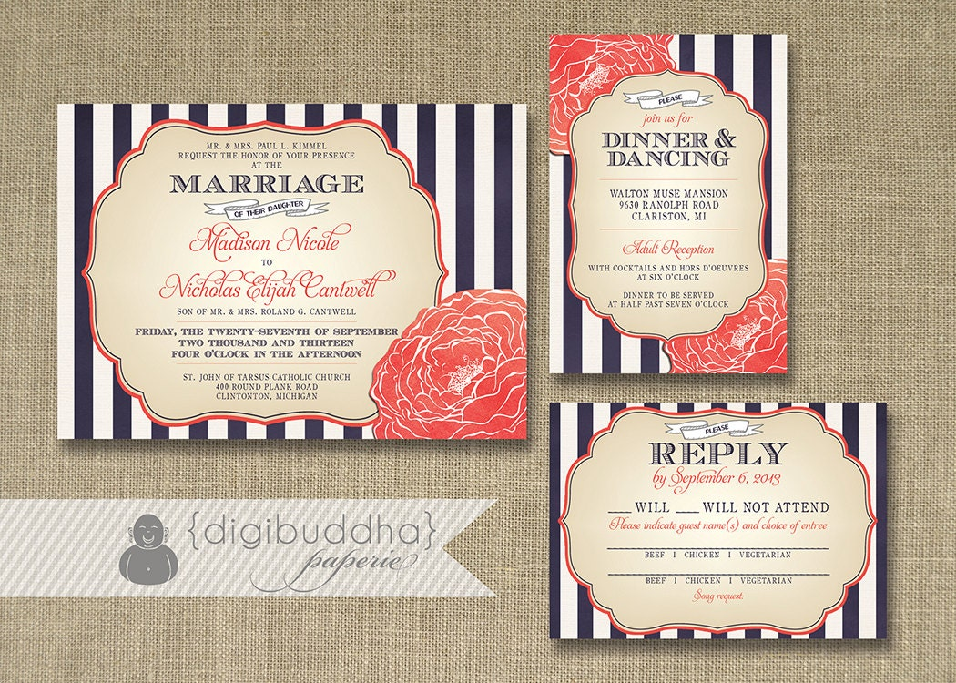 Blue And Coral Wedding Invitations: Stripes & Bloom Wedding Invitation 3 Piece Suite Reception