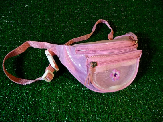 Vintage 90s Mini Fanny Pack with See Through Flower Gem Pouch and Pink Glitter Plastic