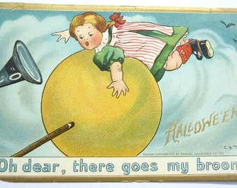 Vintage Halloween Witch on the Moon Postcard 1900s Old
