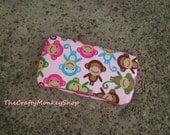 Spring Monkeys Pink Boutique Travel Baby Wipes Case