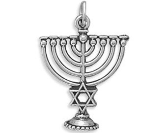 Menorah Judaica Charm - 925 Sterling Silver