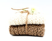 Organic Hand Knit Washcloths