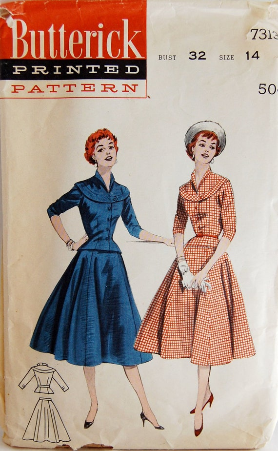 "Vintage 1950s Butterick Misses' Women's Two Piece Dress Pattern 7313 Size 14 (32"" Bust)"