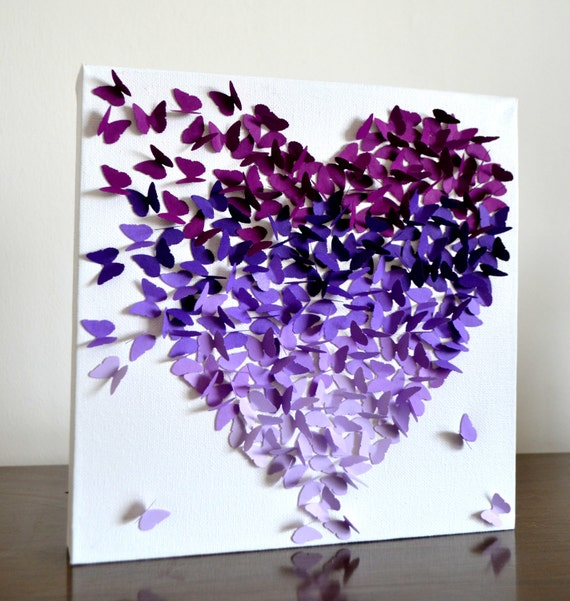 Heart Wall Decor With Pictures : Purple ombre classic butterfly heart d wall art