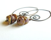 Purple earrings glass beads copper hoop