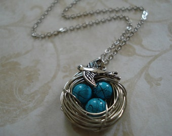Blue Robin's Egg Bird Nest Necklace