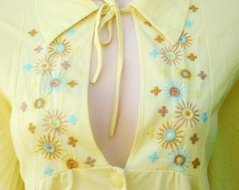 Vintage 1970s Yellow Caftan Gown Boho Hippie Lingerie Medium Large