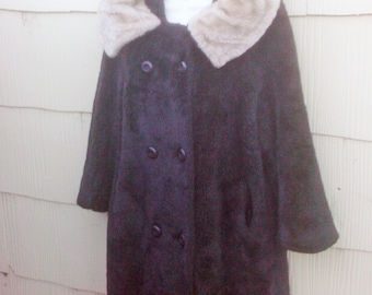 Vintage 1960s Brown Mod Coat Acrylic Large Jackie O