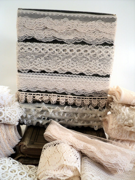 Lace Trim, 10 Yards of assorted types assorted vintage Beige, Cream, Sand, Off-White, Buff Coloured Lace