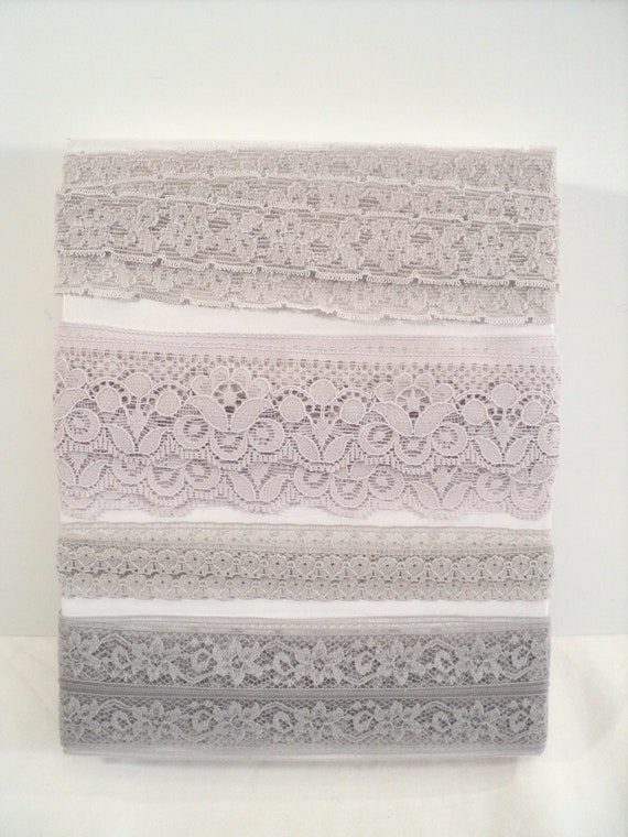 Grey Lace Trim, 10 Yards of 4 types assorted Lace