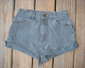 SALE- Grey blue extra short vintage Riders cuffed cutoff high rise shorts size 8