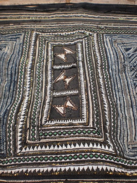 Hmong Vintage Tribal Indigo Batik  Hand Dyed And Embroided Folk Art