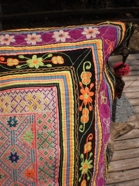 Hilltribe Embroided Vintage Textile Cushion Cover