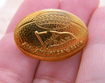 Vintage All American Club football shaped pin