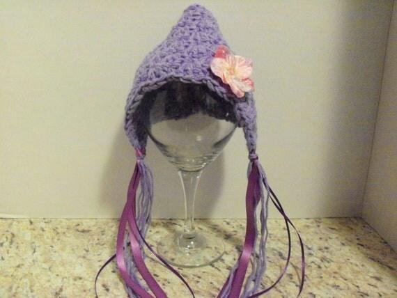 Bonnet. Lavendar. pixie hat with silk flower. 0-3 months