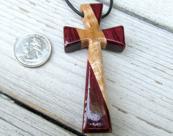 Hand Carved Sycamore & Brazilian Purpleheart - Cross - Large Statement Piece - FREE USA SHIPPING