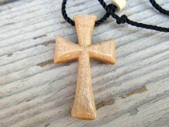 Wood Cross Necklace - Maple Hardwood - Mens Jewelry