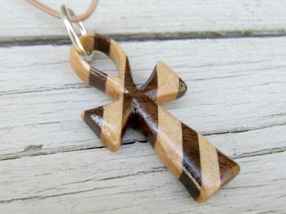 Wooden Ankh Necklace - Maple and Walnut Hardwoods