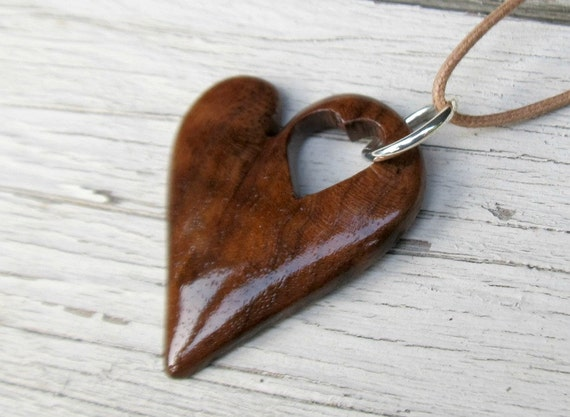 Wood Heart Necklace - Walnut Hardwood - Women's Jewelry