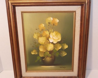 Vintage Floral Oil Painting Yellow Flowers In Vase Artist Signed in Wood Frame