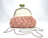 Shoulder Clutch, Clutch, Framed Clutch, Peach, Cream, Green, Cotton, Burlap