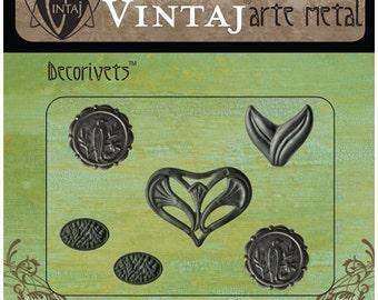 Free US Shipping vintaj woodland Arte Metal Decorivets set of 6