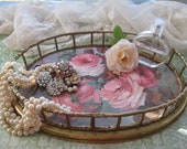Vintage Tray with Roses - Mid Century Brass Tray - Boudoir