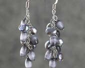 Gray pearl dangling chandelier earrings Bridesmaids gifts Free US Shipping handmade Anni Designs