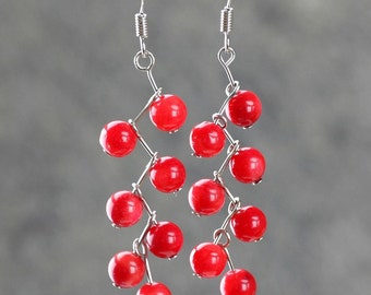 Red coral long dangle red zigzag earrings Bridesmaids gifts Free US Shipping handmade Anni Designs