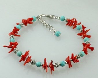 Turquoise coral beaded bracelet Bridesmaid gifts Free US Shipping handmade Anni designs