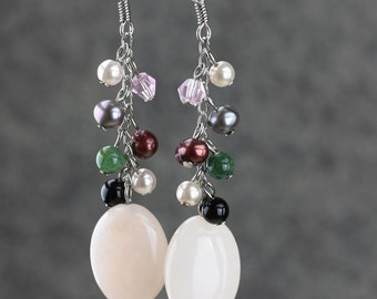 Rose quartz pearl dangling chandelier earrings Bridesmaid gifts Free US Shipping handmade Anni designs