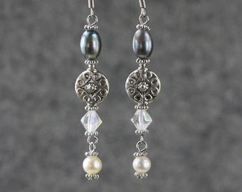 Pearl and charm linear long dangling earrings Bridesmaids gifts Free US Shipping handmade Anni Designs