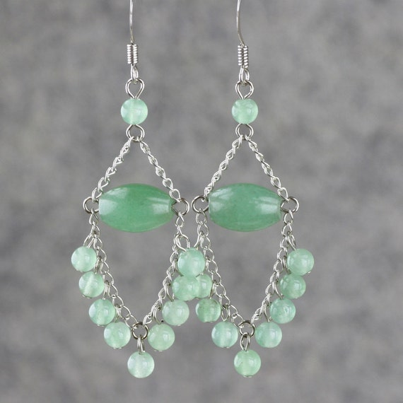 Jade Dangling Chandelier Loop Earrings bridesmaids gifts Free US Shipping handmade Anni Designs