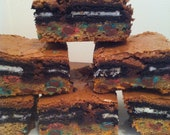 brownie, oreo, cookie bar--Triple Threat brownies, layer of M&M cookie, middle layer whole oreos, topped with gooey brownie batter