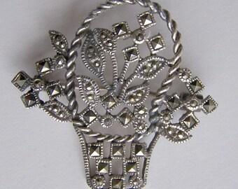 Vintage, Sterling and Marcasite Basket pin