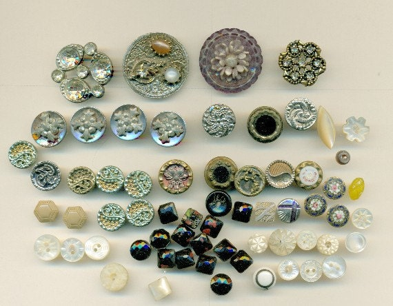Vintage Buttons, Lot of 65